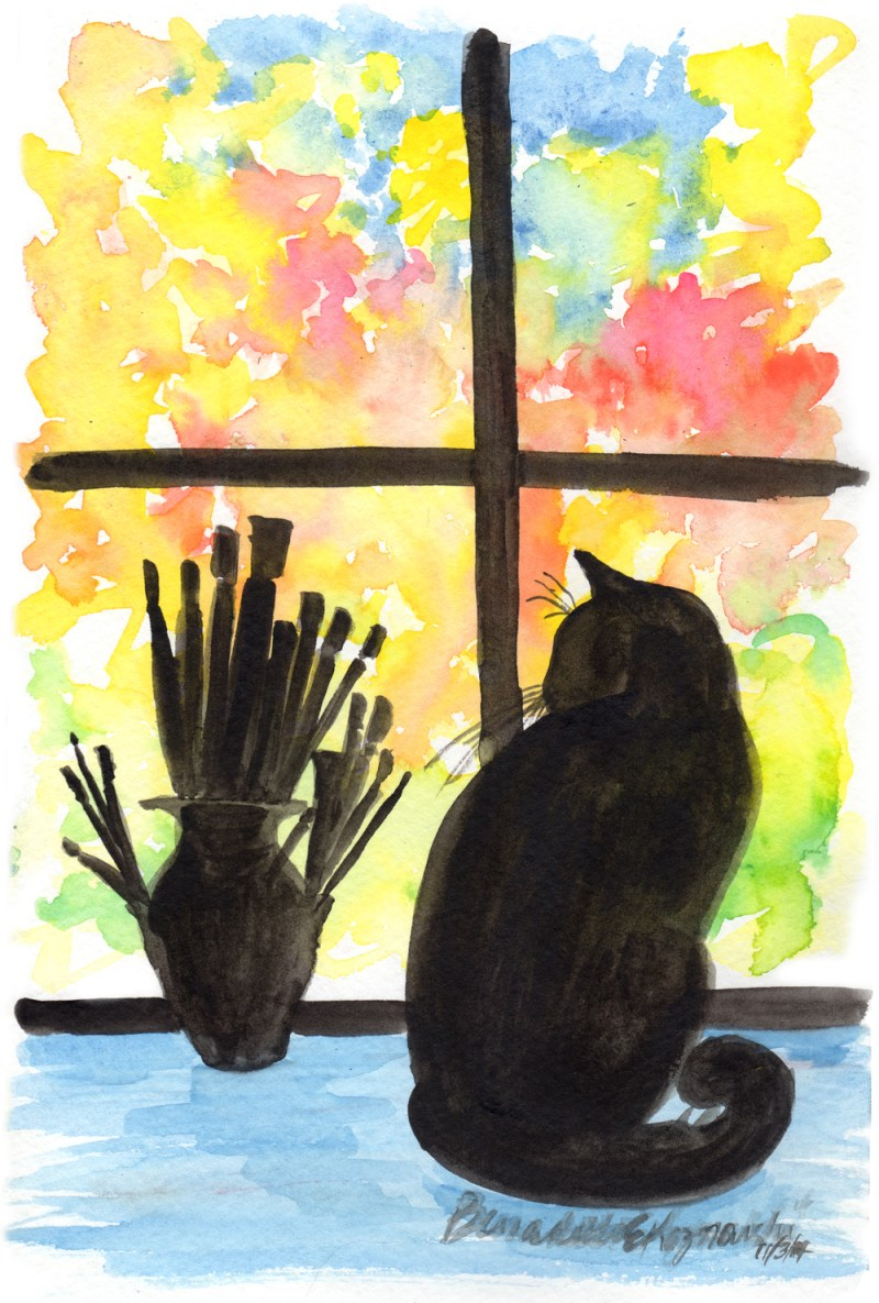 watercolor of black cat on windowsill