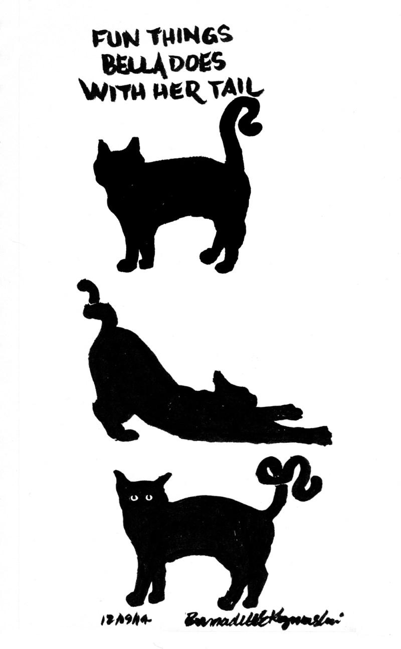 brush pen sketch of black cat