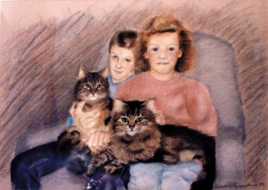 portrait of two children and two cats