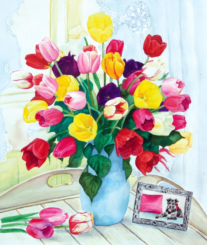 watercolor still life of tulips and photo of schnauzer