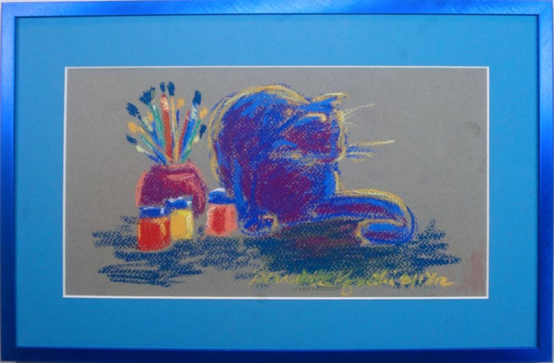 framed pastel sketch of cat