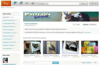 screenshot of portraits of animals on etsy