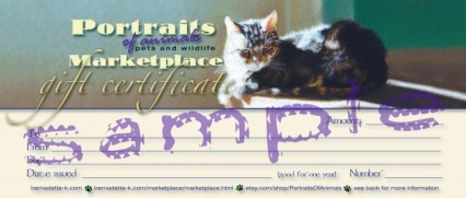 sample gift certificate for portraits of animals
