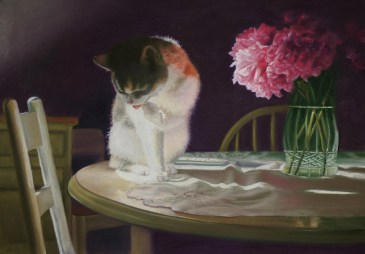 pastel painting of calico cat with peonies