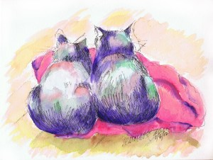 watercolor of two cats on a blanket