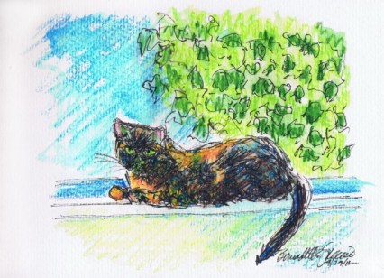 ink and watercolor sketch of Kelly on the windowsill