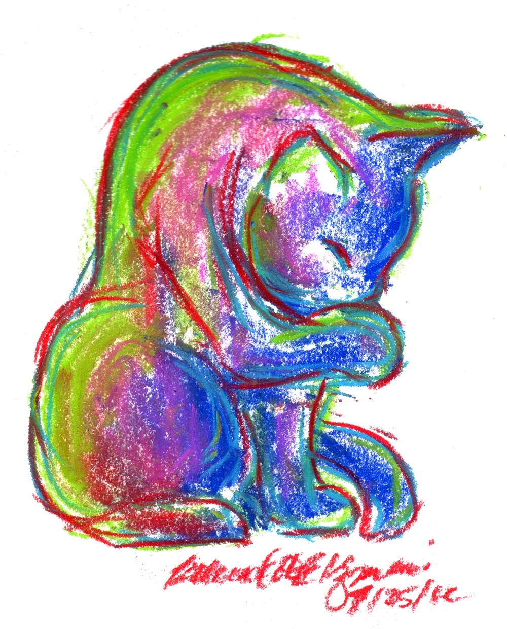 Daily Sketch Reprise: Summer-colored Kitty, 2012