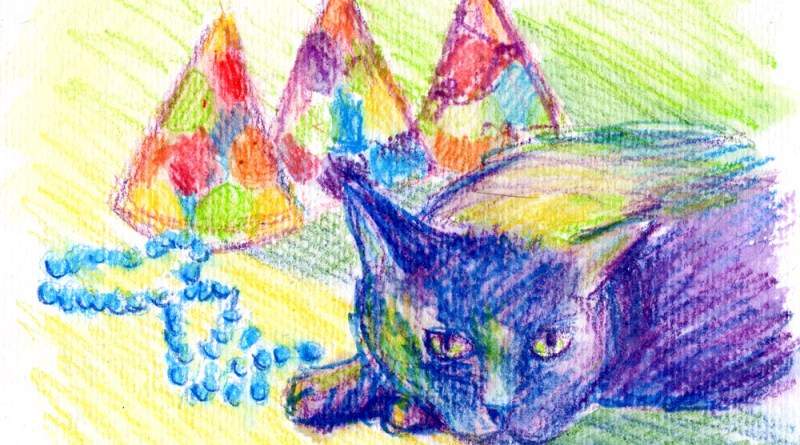 watercolor of cat with party hats