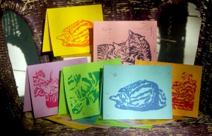 """Set of six """"Tabbies"""" Summer note cards."""