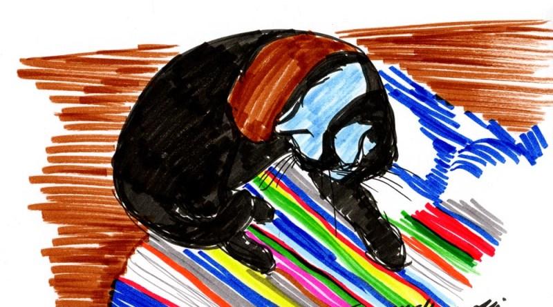 marker sketch of cat on striped rug