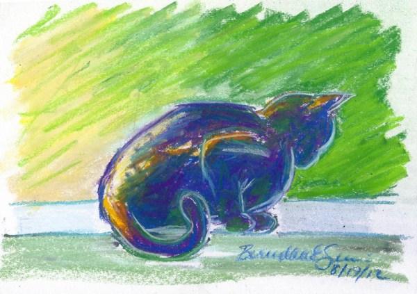 pastel sketch of cat on windowsill