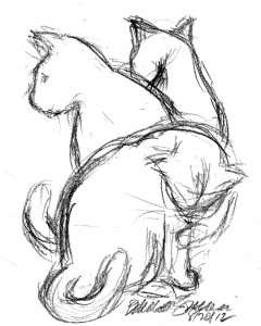 sketch of three cats bathing