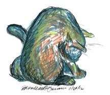 pastel sketch of cat bathing