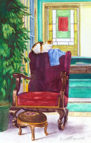 watercolor portrait of cat on rocker in victorian room