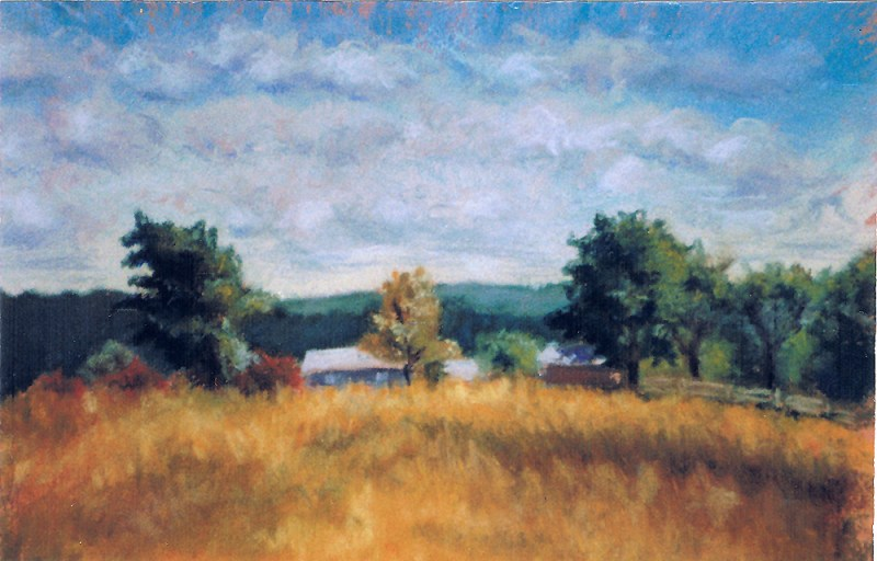 pastel painting of hilltop farm