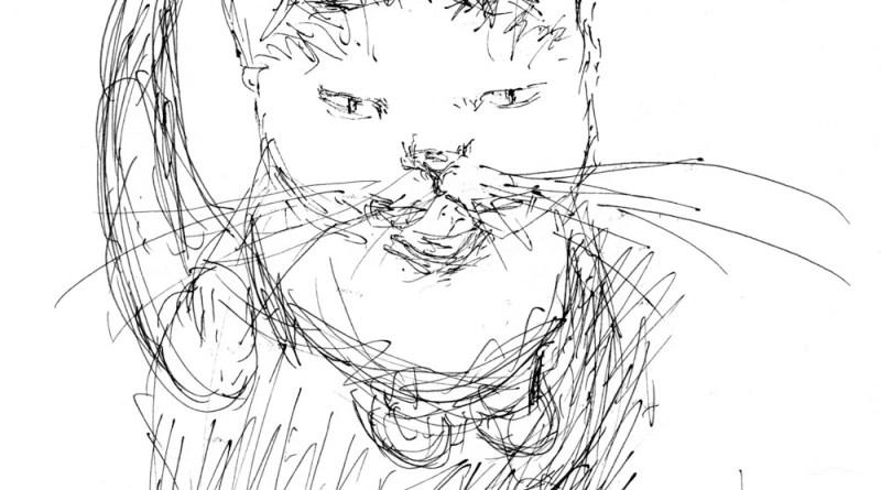 sketch of cat looking up