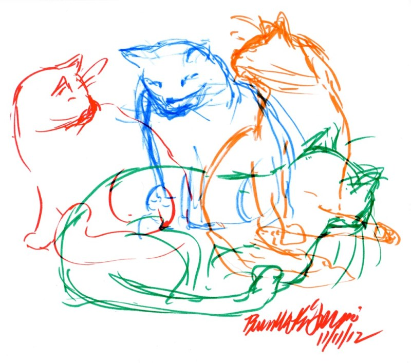 marker sketch of four cats