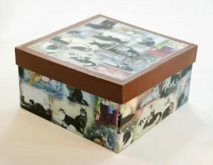 papier mache box with cat design