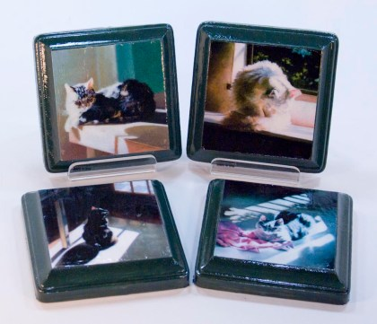 wooden coasters with cat art