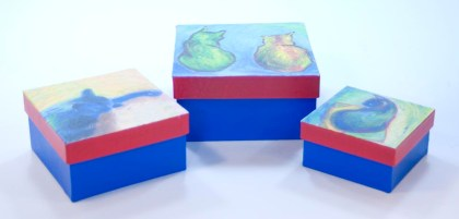 keepsake boxes with cat art