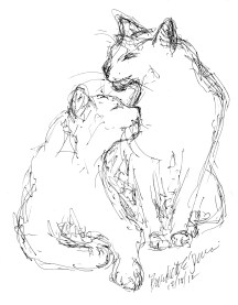 ink sketch of two cats cuddling