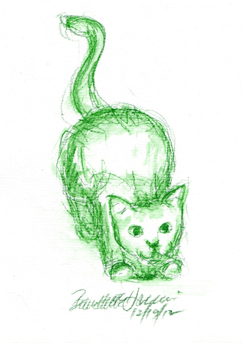 sketch of cat crouching
