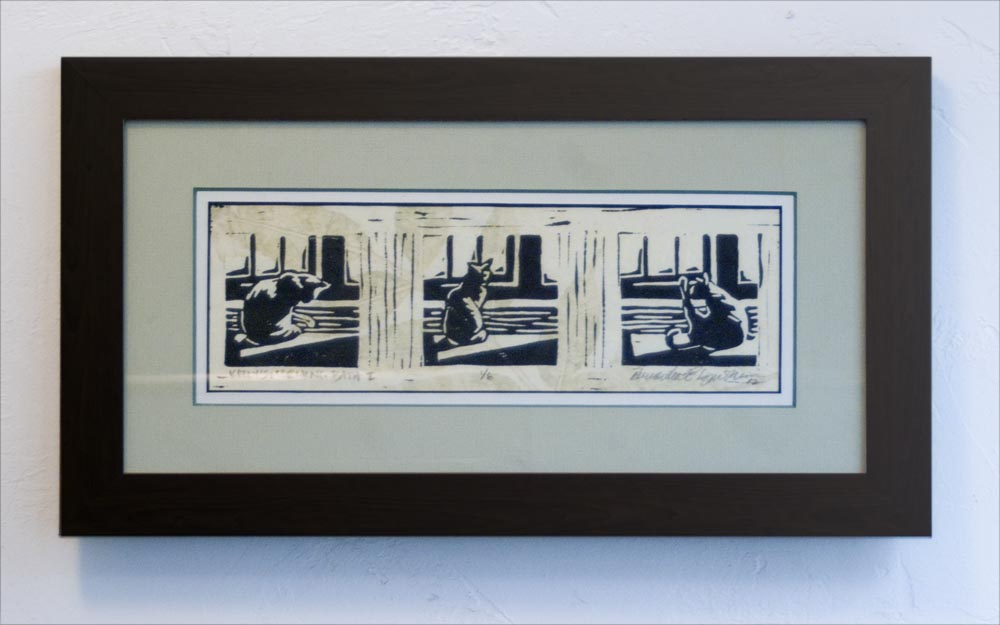 matted framed block print of cat