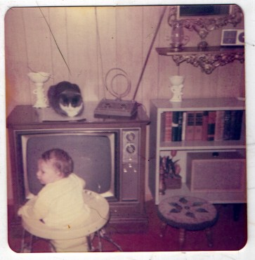 cat on TV looking at child