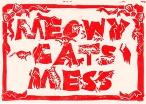 block print of cat message