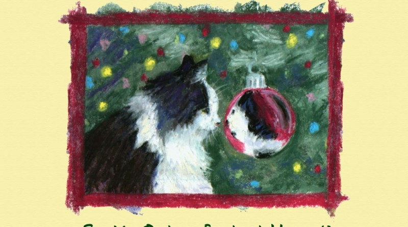 sketch of cat looking in christmas ornament