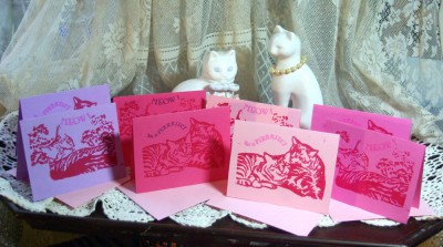 block print valentine cards with cats