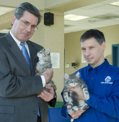 Kevin G. Lowery, ALCOA and Dan Rossi, ARL with kittens