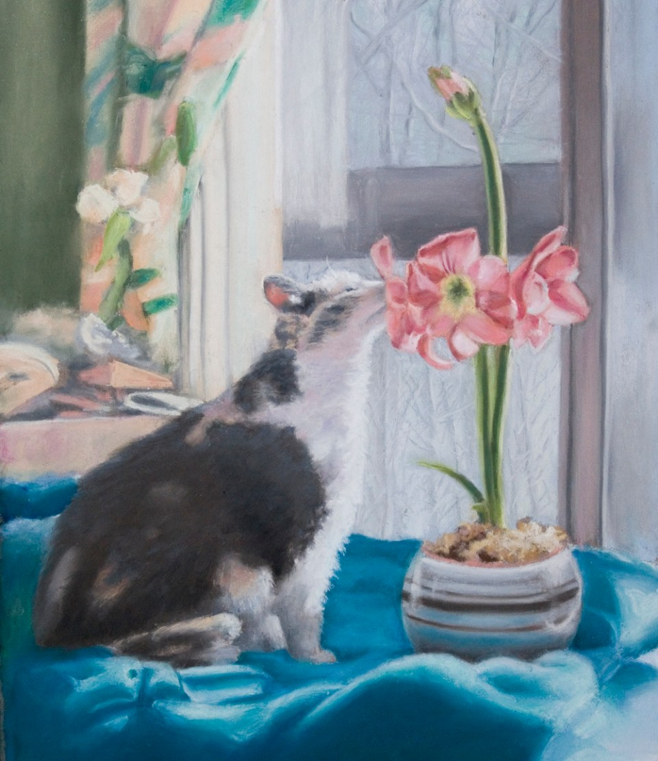 pastel portrait of cat with flowers