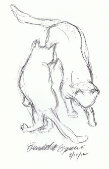 charcoial sketch of two cats