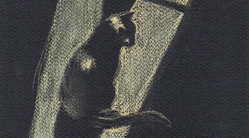 pastel sketch of cat in sun