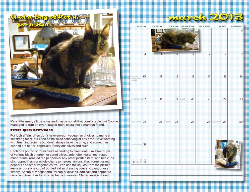 two-page spread from calendar