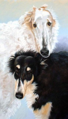 portrait of two borzois