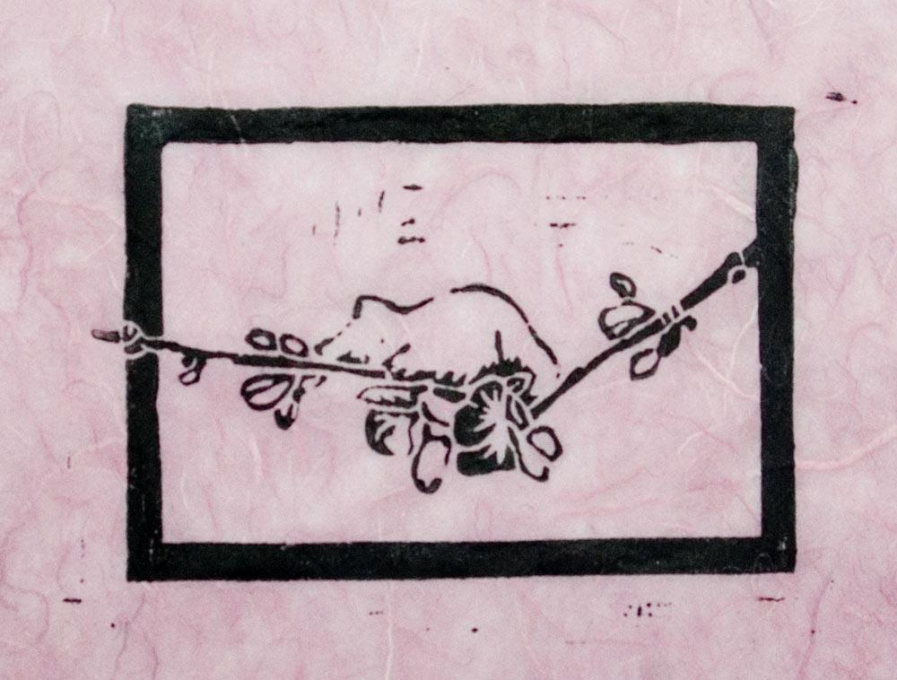 """The Spring Kitten"" linoleum  block print on pink silk and rice paper"