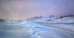 pastel painting of winter landscape