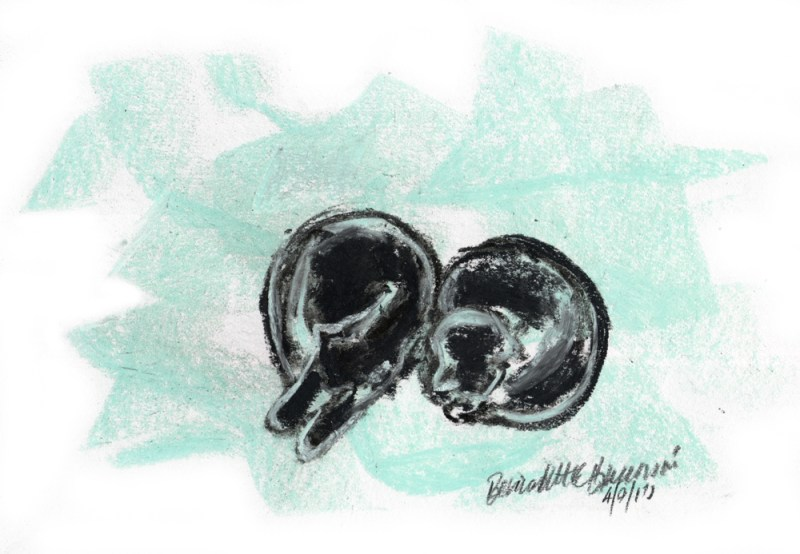 pastel sketch of two black cats