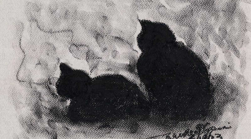 pastel sketch of two cats looking out window
