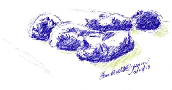 pastel sketch of cats sleeping
