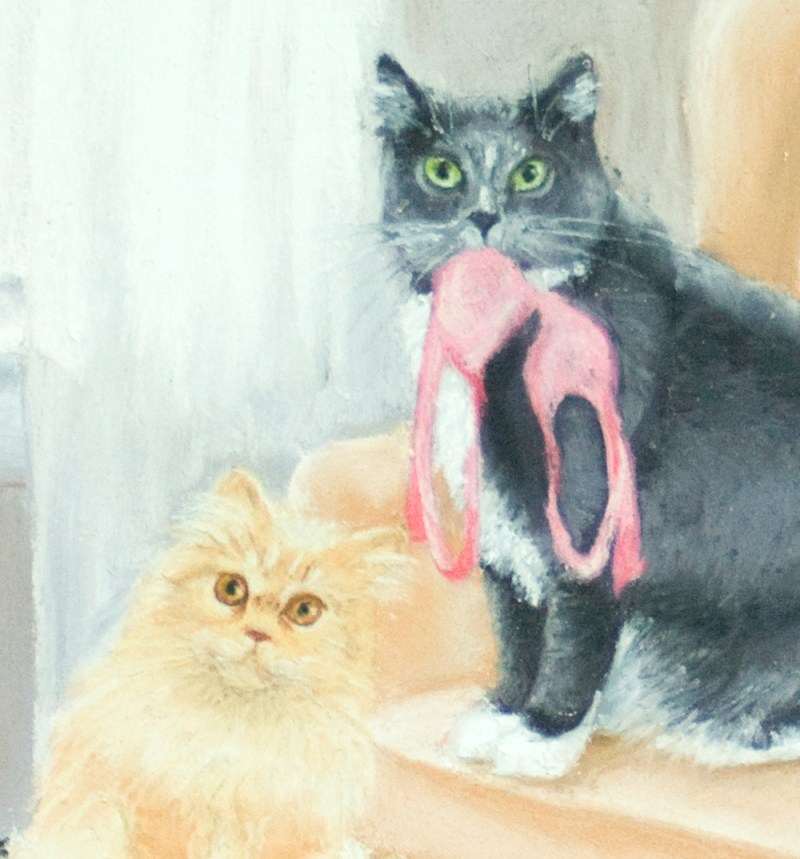 two cats in pastel illustration