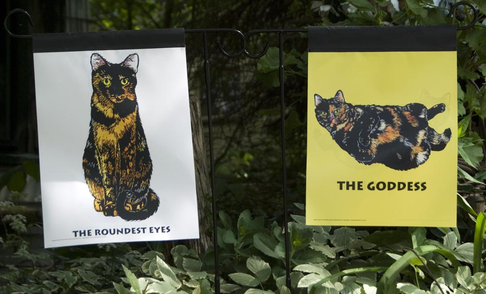 garden flags with tortoiseshell cats