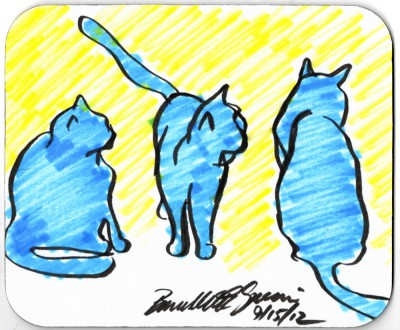 Three Blue Cats mousepad