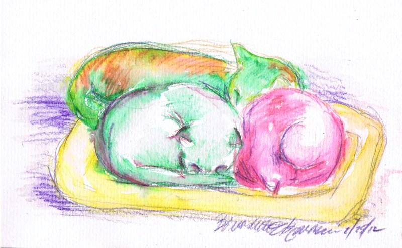 watercolor of three cats sleeping