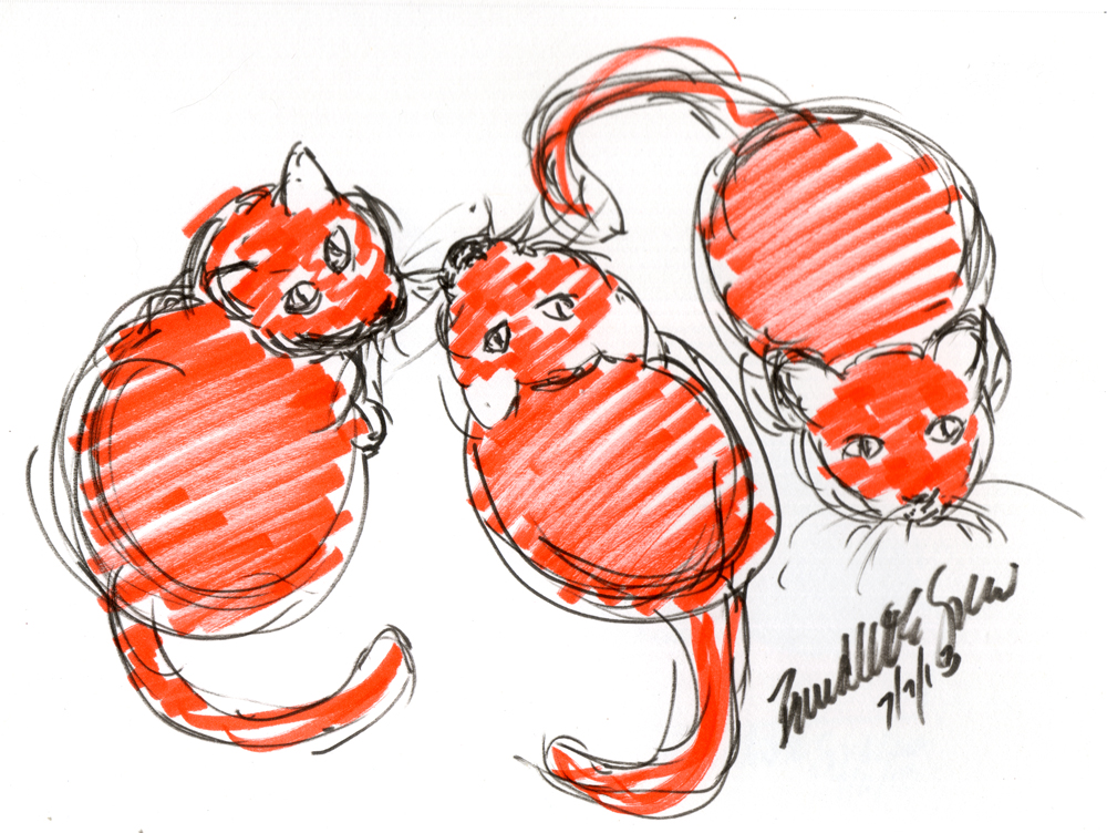 Daily Sketch Reprise: Three Orange Cats Waiting for Dinner, in Two Shades