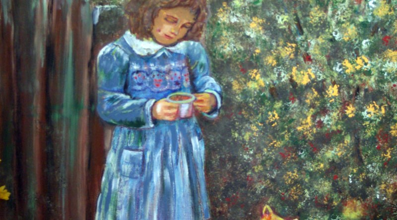 painting of girl with brace on leg with orange cat