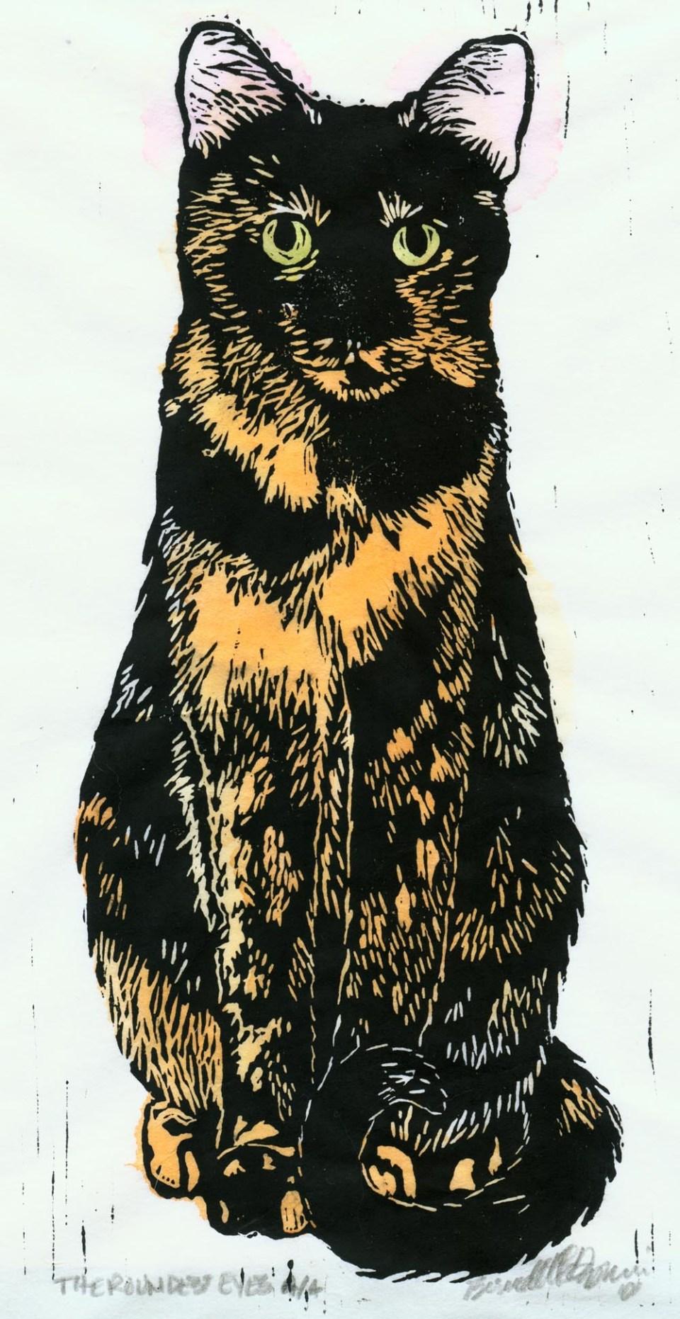 """The Roundest Eyes,"" hand-tinted linoleum block print."