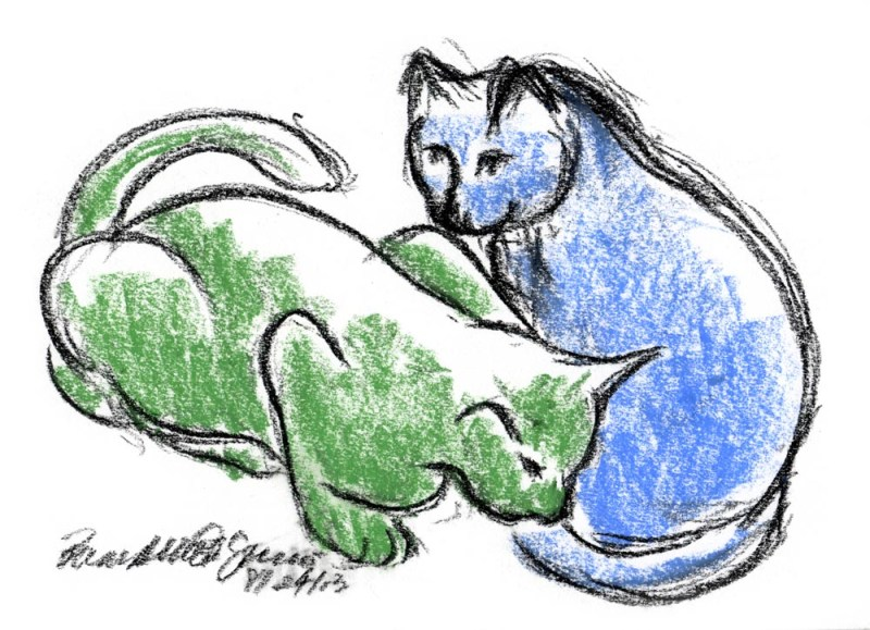 """Green Cat, Blue Cat"", pastel on multimedia paper, 8.5"" x 6"" • Bernadette E. Kazmarski"